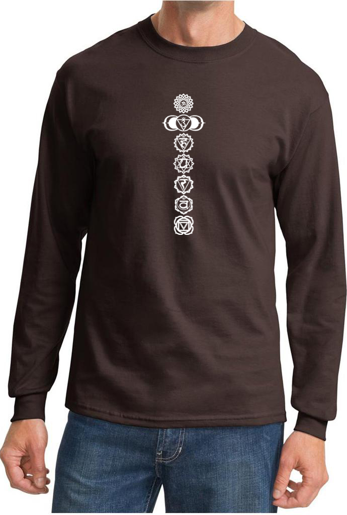Mens yoga t shirt 7 chakras white print long sleeve shirt Yoga shirts with sleeves