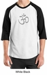 Mens Yoga T-shirt - Aum Symbol Adult 3/4 Sleeve Raglan Tee Shirt