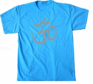 Mens Yoga T-shirt - Aum Symbol Adult Neon Blue Tee Shirt