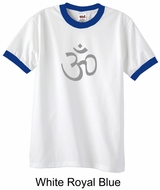 Mens Yoga T-shirt - Aum Symbol Meditation Adult Ringer Tee Shirt