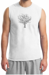Mens Yoga T-shirt Grey Tree of Life Muscle Shirt