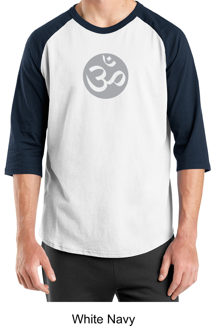 Mens yoga t shirt om symbol meditation 3 4 sleeve raglan Yoga shirts with sleeves