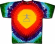 Mens Yoga T-shirt – Warrior 2 Pose Tie Dye Rainbow Teardrop Tee Shirt