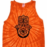 Mens Yoga Tanktop Black Hamsa Tie Dye Tank Top