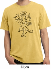 Mens Yoga Tee Black Sketch Ganesha Pigment Dyed T-shirt