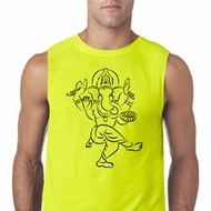 Mens Yoga Tee Black Sketch Ganesha Sleeveless Shirt