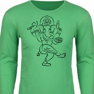 Mens Yoga Tee Black Sketch Ganesha Thermal Shirt
