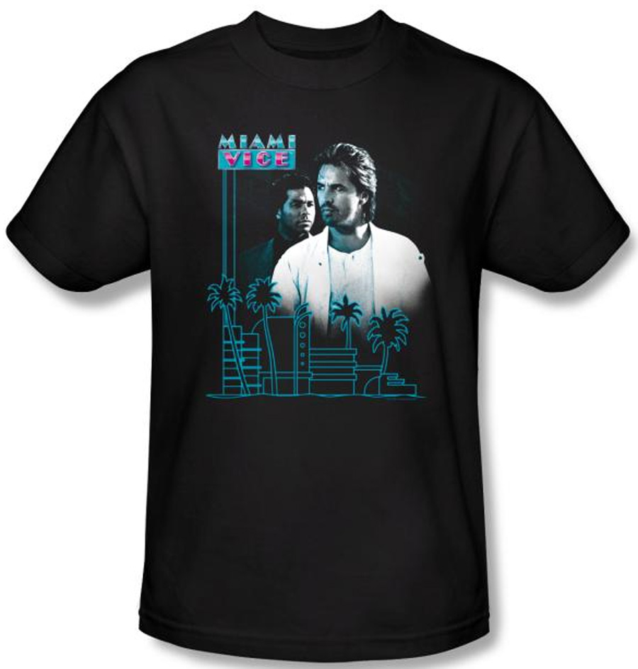 Miami vice t shirt looking out adult black tee shirt for T shirt printing miami fl