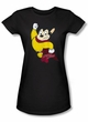 Mighty Mouse Juniors T-shirt Classic Hero Girly Black Tee