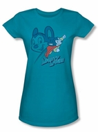 Mighty Mouse Juniors T-shirt Double Mouse Girly Turquoise Tee