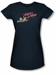 Mighty Mouse Juniors T-shirt Mighty Retro Girly Navy Blue Tee