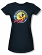 Mighty Mouse Juniors T-shirt Planet Cheese Girly Navy Blue Tee