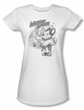 Mighty Mouse Juniors T-shirt Protect And ServeGirly White Tee