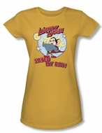 Mighty Mouse Juniors T-shirt Vintage Day Girly Gold Tee