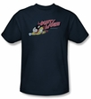 Mighty Mouse T-shirt - Mighty Retro Adult Navy Blue Tee