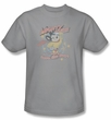 Mighty Mouse T-shirt - TV Series At Your Service Youth Kids Silver Tee
