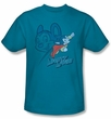 Mighty Mouse T-shirt - TV Series Double Mouse Adult Turquoise Tee