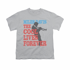 Miles Davis Shirt Kids Cool Lives Silver T-Shirt
