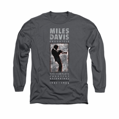 Miles Davis Shirt Silhouette Long Sleeve Charcoal Tee T-Shirt