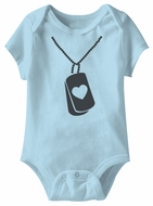 Military Heart Dog Tag Funny Baby Romper Blue Infant Babies Creeper