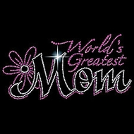 Mom T-shirt - World's Greatest Mom Rhinestone Print Mother's Tee