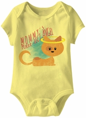 Mommy's Purrr-fect Angel Funny Baby Romper Yellow Infant Babies Creeper