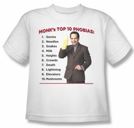 Monk Shirt Kids Top Ten Phobias White Youth Tee T-Shirt