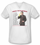 Monk Shirt Slim Fit V Neck Top Ten Phobias White Tee T-Shirt