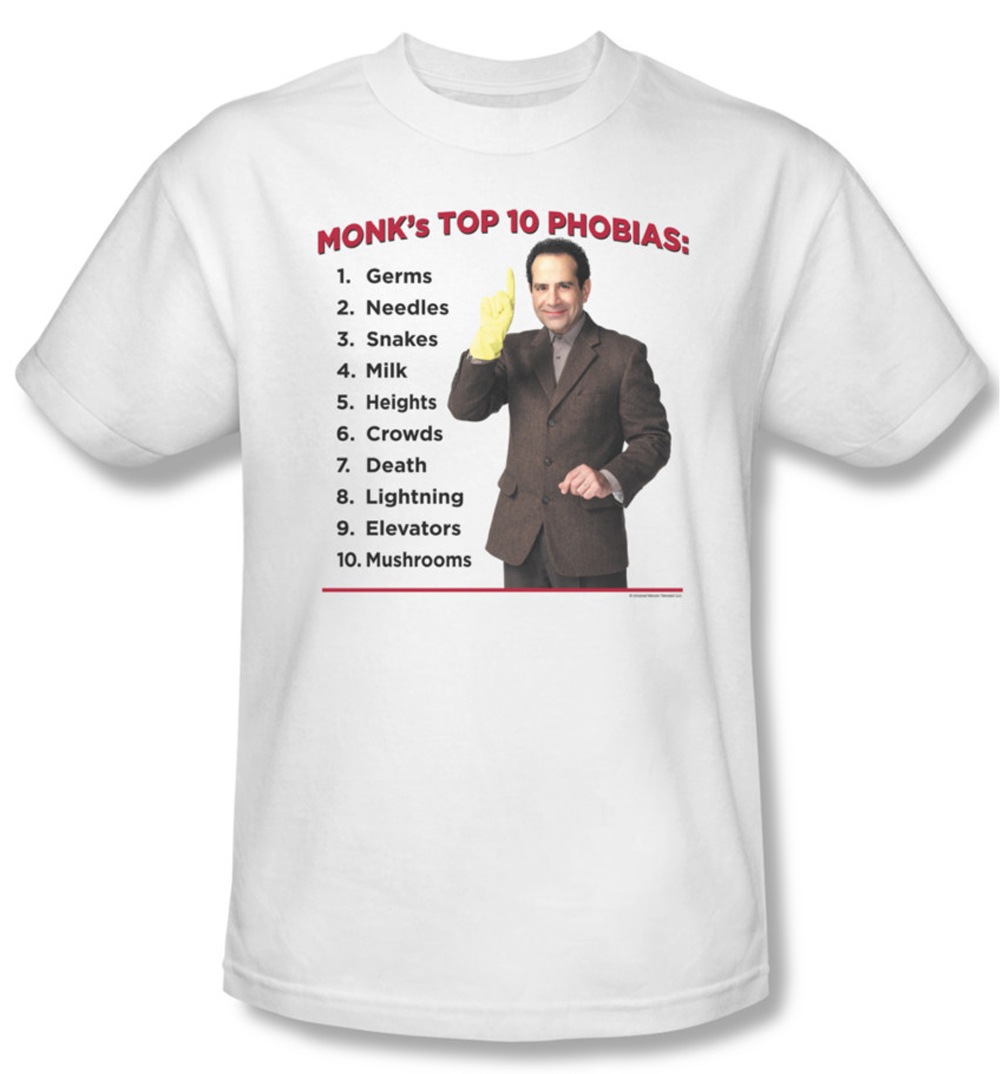 Monk Shirt Top Ten Phobias Adult White Tee T Shirt Monk