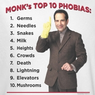 Monk Top Ten Phobias Shirts