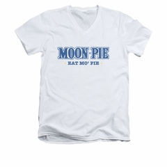 Moon Pie Shirt Slim Fit V-Neck Eat Mo White T-Shirt