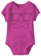 Moostash Funny Baby Romper Hot Pink Infant Babies Creeper