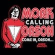 Mork and Mindy Juniors Shirt Mork Calling Orson Black T-Shirt