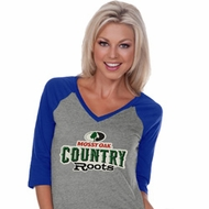 Mossy Oak Country Roots Ladies Three Quarter V-Neck