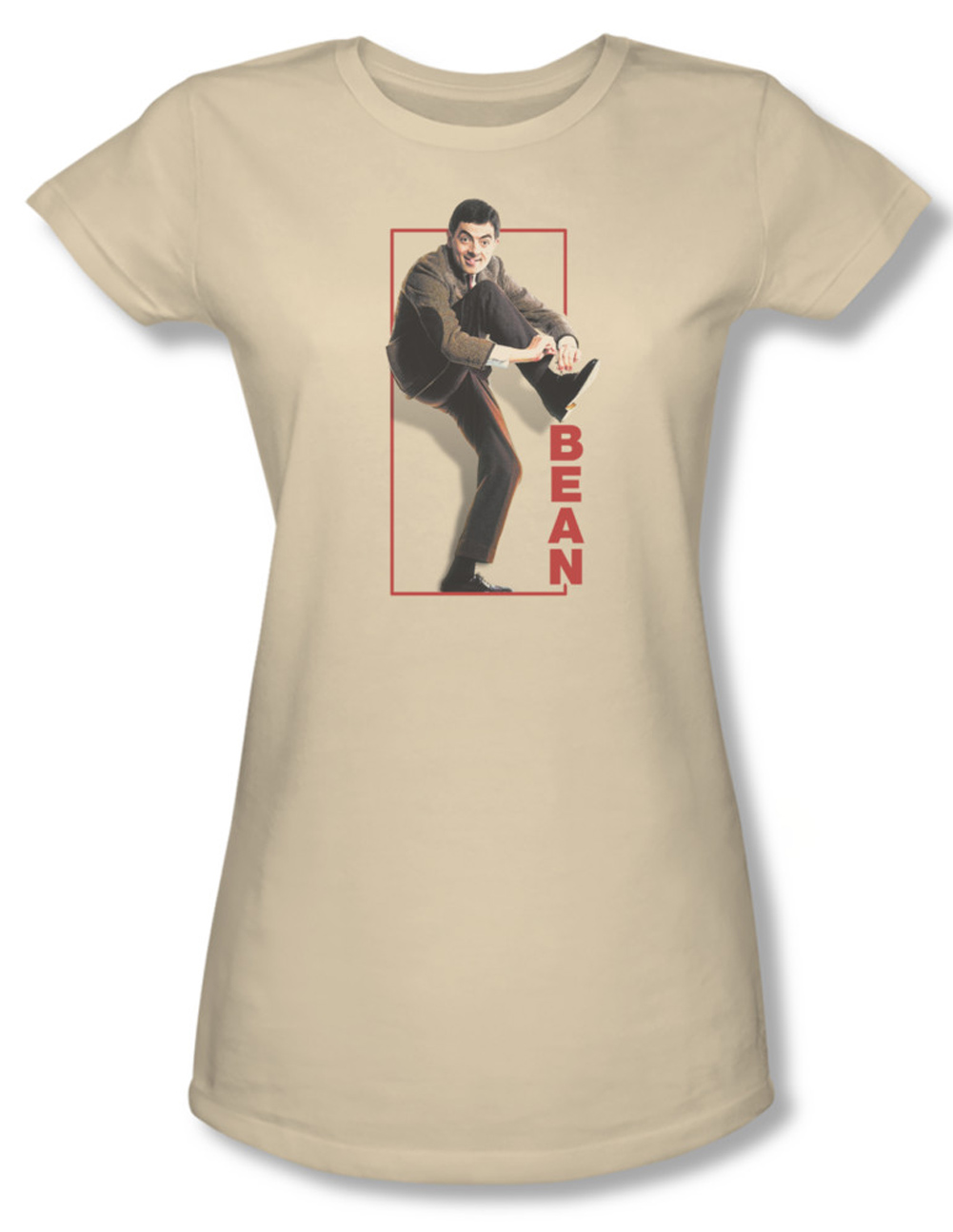 mr bean juniors shirt tying shoe cream tee t shirt mr bean tying shoe shirts. Black Bedroom Furniture Sets. Home Design Ideas