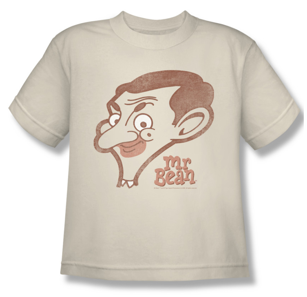 mr bean kids shirt cartoon head cream youth tee t shirt mr bean cartoon head shirts. Black Bedroom Furniture Sets. Home Design Ideas