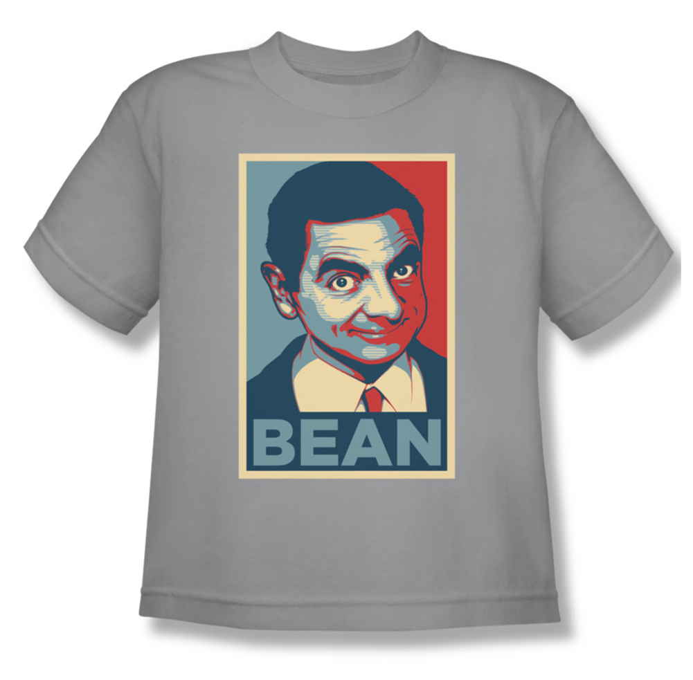 mr bean kids shirt poster silver youth tee t shirt mr bean poster shirts. Black Bedroom Furniture Sets. Home Design Ideas