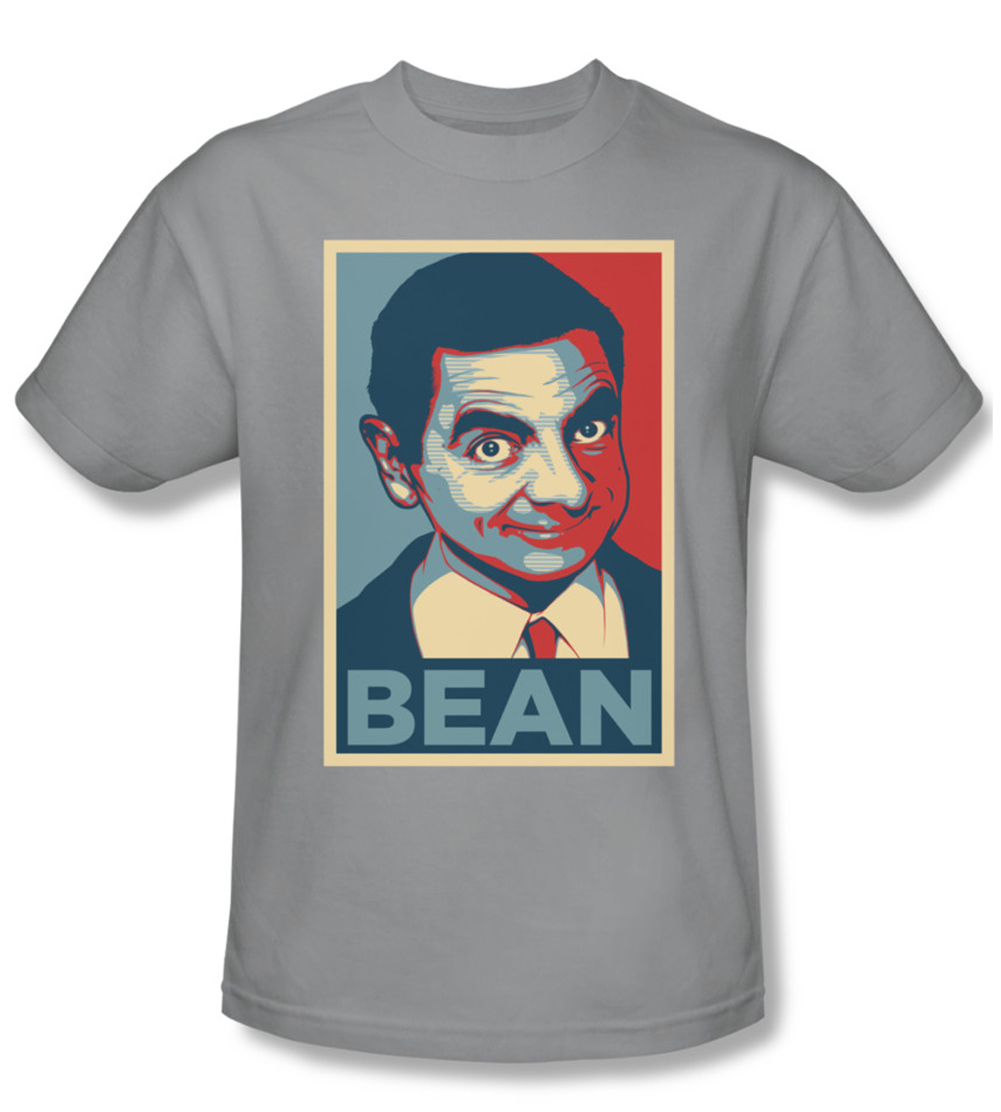 mr bean shirt poster adult silver tee t shirt mr bean poster shirts. Black Bedroom Furniture Sets. Home Design Ideas