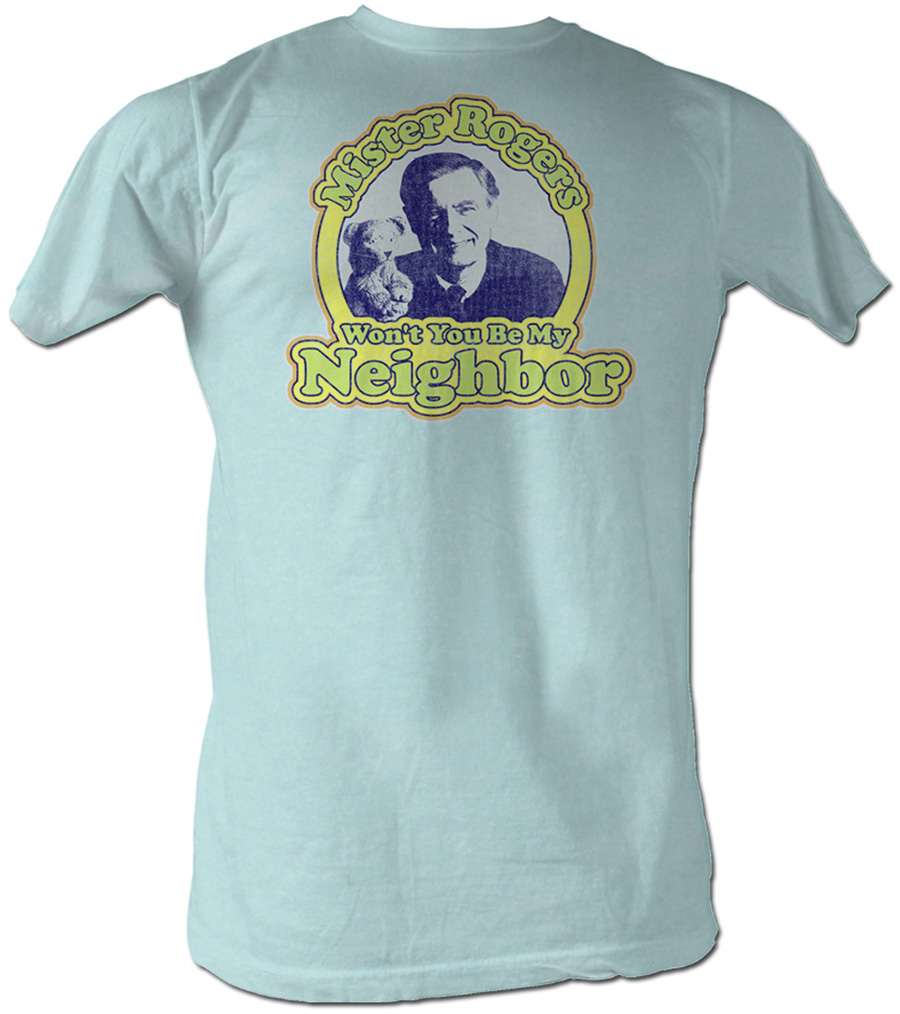 mr mister rogers t shirt my neighbor adult blue tee shirt mister rogers shirts. Black Bedroom Furniture Sets. Home Design Ideas