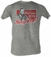 Mr. Mister Rogers T-shirt Neighbor Adult Grey Heather Tee Shirt