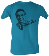 Mr. Mister Rogers T-shirt Won't You Be Adult Blue Tee Shirt