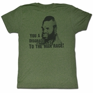 Mr. T T-shirt Disgrace Adult Heather Green Tee Shirt
