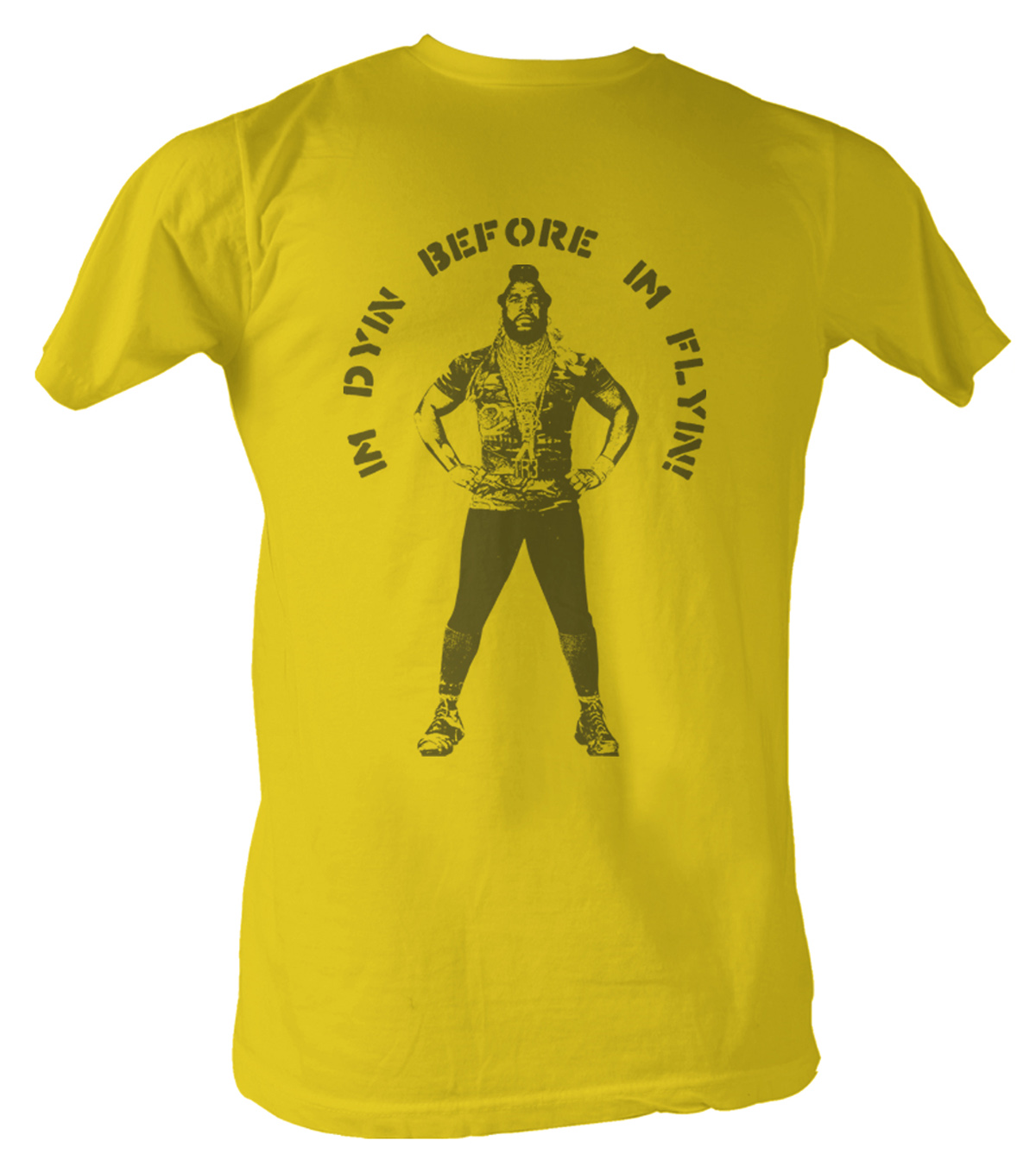 mr t t shirt flyin a team adult gold tee shirt mr t shirts. Black Bedroom Furniture Sets. Home Design Ideas