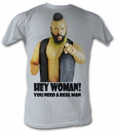 Mr. T T-Shirt - Hey Woman A-Team Adult Silver Tee Shirt
