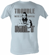 Mr. T T-Shirt Trouble A-Team Adult Light Blue Tee Shirt