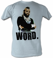 Mr. T T-Shirt - Word A-Team Adult Light Blue Tee Shirt