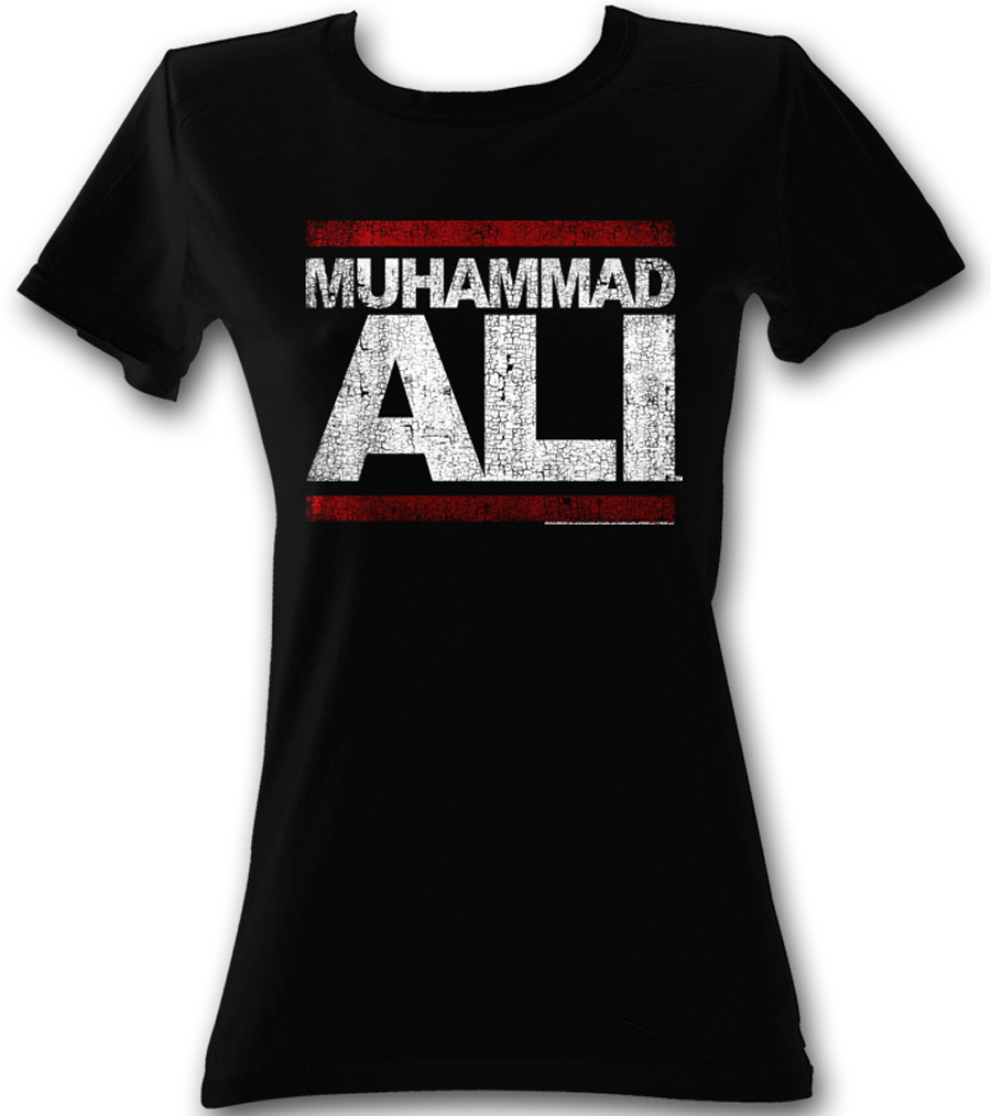 muhammad ali juniors t shirt run ali black tee shirt. Black Bedroom Furniture Sets. Home Design Ideas