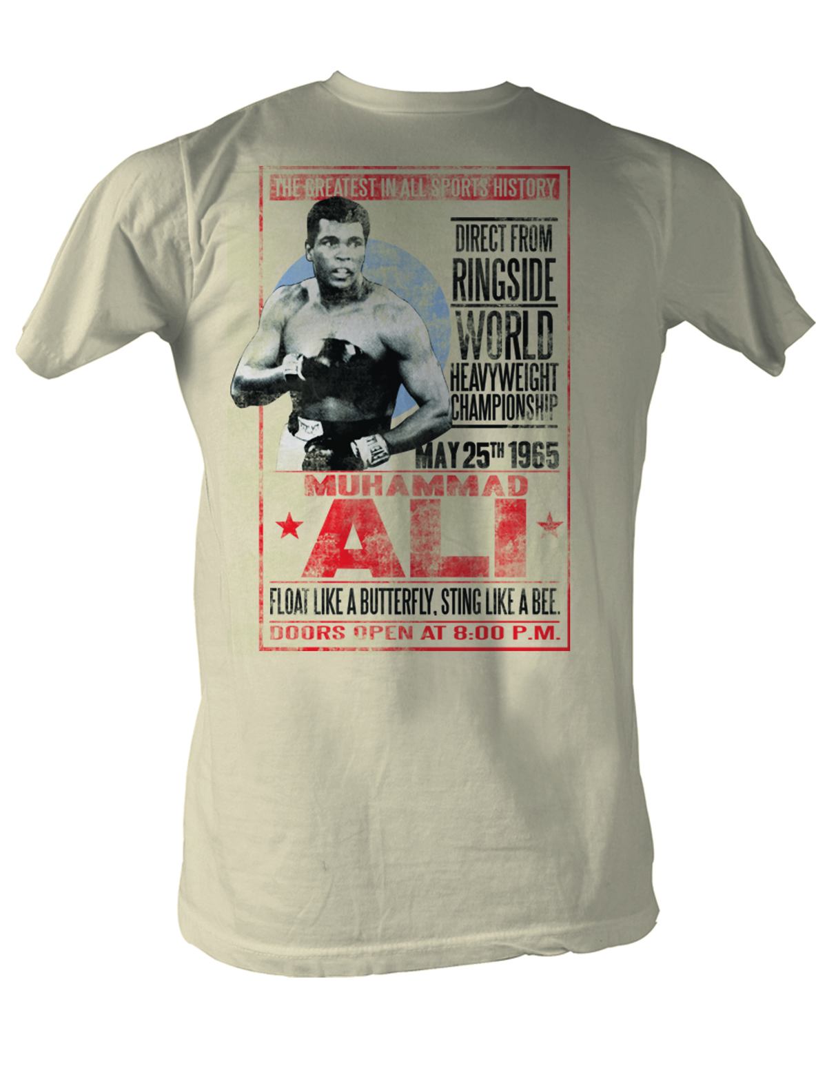 muhammad ali shirt 1965 poster dirty white tee t shirt. Black Bedroom Furniture Sets. Home Design Ideas