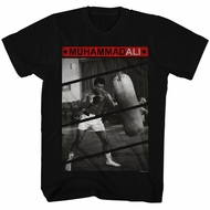 Muhammad Ali Shirt Punching The Bag Black T-Shirt
