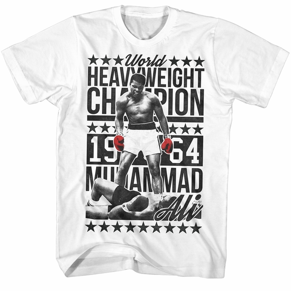 muhammad ali shirt world heavyweight champion 1964 white t. Black Bedroom Furniture Sets. Home Design Ideas